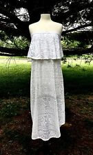 NEW Free People Beach white Crochet Eyelet Lace Strapless Midi Maxi Dress M