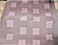 MARVELOUS ANTIQUE HOMESPUN 9 PATCH QUILT c 1910