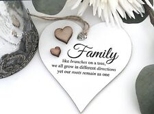 Family Tree Shabby Chic Heart Plaque Friendship Christmas Love S32