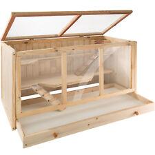 Cage pour rongeur bois 3 étages petit animaux hamster villa maison 95x50x50 cm