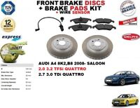 FOR AUDI A4 BERLINA FRONT BRAKE DISCS SET + DISC PADS KIT + WIRE SENSOR