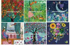 MILA MARQUIS*Postkarte*Glitzer*Herbst*Mädchen&Fuchs*Blumen*Mondsichel...14x14cm