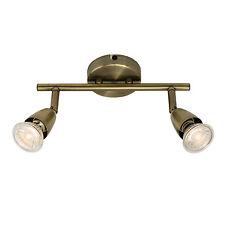 ENDON AMALFI Faretto da soffitto asta 2x 50W antico effetto ottone piatto