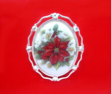 Christmas Porcelain POINSETTIA and HOLLY CAMEO Costume Jewelry ST Pin Pendant
