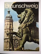 """Braunschweig Germany Tourism Poster Vintage 1960s-70s 33""""x 23"""" Lion Tower Travel"""