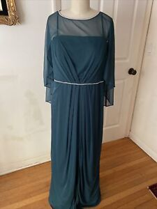 R&M Richards Mother Of The Bride Dress Gown Green Sheer Embellished NEW size 12