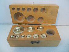 ANTIQUE 9 PC BRASS BALANCE SCALE WEIGHTS  #24
