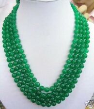 """New Fashion 4Row 6MM Green Emerald Round Gemstone Beads Necklace 17-20"""" AAA"""