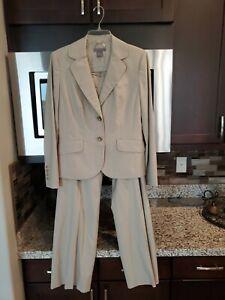 Ann Taylor Classic Beige Pant Suit 2-Button Blazer Jacket Slacks 2pc Sz 6