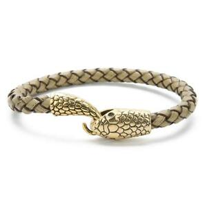 Leather Snake Hooked Men's Bracelet