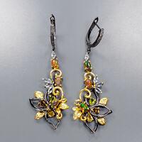 Black Opal Earrings Silver 925 Sterling Handmade Jewelry Set  /E40442