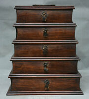 """11"""" Old Chinese Huanghuali Wood Carved Drawer Pagoda Handle Storage Jewelry Box"""