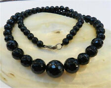 Faceted 6-14mm Black Agate Round Onyx Gems Beads Necklace 18""
