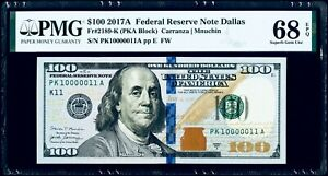 "$100 2017A Federal Reserve Note Dallas ""Binary Serial #"" Fr#2189-K PMG 68 EPQ SG"