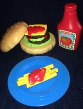Vintage Fisher Price Play Food CHEESEBURGER FRIES Ketchup Plate Set