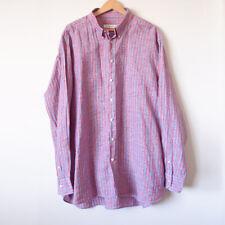 INGRAM Mens Red Blue Wash 100% Linen Stripe Long Sleeve Button Up Shirt Size 4XL