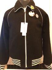 Marc Jacobs Stripe Trimmed Wool Bomber Jacket Eu52 UK XL in Black S84am0325
