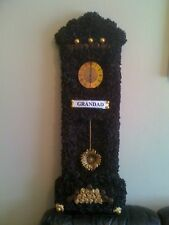 Grandfather Clock Artificial Silk Funeral Flower Tribute Memorial Grandad Wreath