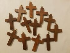 12 Wood 53mm Religious Wooden Cross Pendants Charms Jewelry Sunday School Crafts