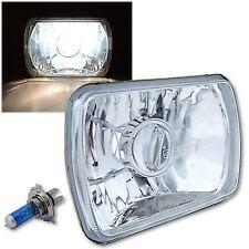 """7X6"""" Halogen Projector Crystal Clear Glass Headlight Headlamp H4 Light Bulb Each"""