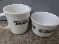 Corelle OLD TOWN BLUE ONION Creamer Sugar Bowl Pyrex Corning 1972 EUC