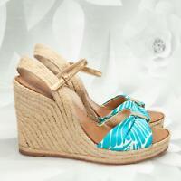 Kate Spade Women's Platform Wedge Sandals Heels Size 7.5M Teal/White/Gold