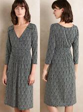 ANTHROPOLOGIE Maeve NWT Galena Midi Dress Black & White Ruched Jersey Sz XS $138
