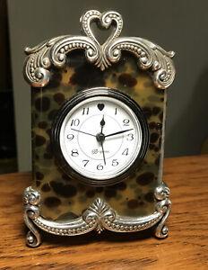 Brighton Small Tortoise Shell & Silver Tone Desk Alarm Clock Working W/ Battery