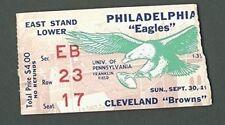 Philadelphia Eagles Vs. Cleveland Browns Ticket Stub Sept. 16th, 1962 123950
