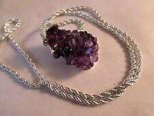 """Amethyst Crystal Cluster Geode Pendant w Sterling Silver Rope Chain 21.5"""" NWOT"""