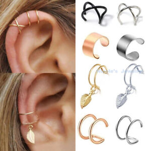 Fake Helix Hoop Earring Ear Cuff Cartilage Ring Clip On Dangle Non Piercing