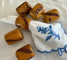 Set of 6 Round BAMBOO Wooden Napkin Rings ECO FRIENDLY Hand Carved wheat sheaf
