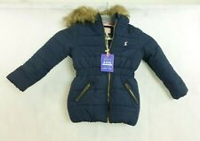 Joules Girls Padded Coat, Faux Fur Trim Hood, NAVY Size 4 Years £59 CR094 CC 01