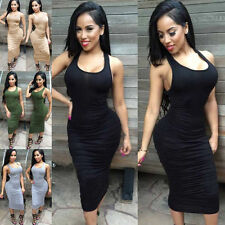 Cotton Blend Calf Length Casual Sleeveless Dresses for Women