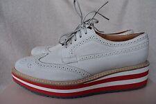 Prada Brogue Leather Microsole Sneaker Cork Platform Oxford 40.5 10.5 Lace-up