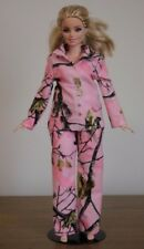 """Clothes for Curvy Barbie Doll. """"Real Tree Camo"""" Pink Flannel Pajamas for Dolls."""