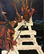 Peinture sur bois anonyme XXème Marine Marin