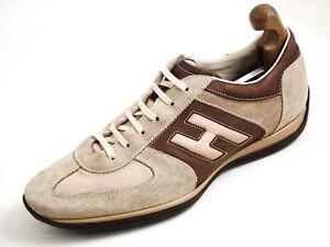 Hogan Sneakers Brown Leather Beige Suede Men Size US 12 EU 45 $520