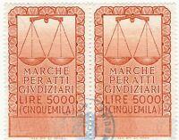 COPPIA DI MARCHE PER ATTI GIUDIZIARI - MARCA DA BOLLO DA LIRE 5000 - (1)