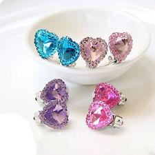 GN- Heart Crystal Kids Fashion Ear Clip Jewelry Girls No Pierce Earring Gift Eye
