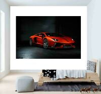 Super Sports Car Red Lamborghini 3D Smashed Wall Sticker Poster Vinyl Decal F22