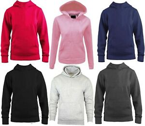 Kids Boys Girls Plain Colours Hoodie Top Hooded Sweatshirt Hoody New Jumpers