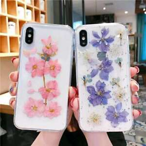 Real Dried Flower Clear Lovely Girl floral Soft Case Cover for iPhone 12 /12 pro