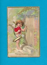 CUPID DELIVERS A HEART On Beautifully Embossed Vintage VALENTINE Postcard
