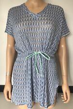 Missoni Womens Bikini Cover Up Kaftan Knitted Blue White Summer Dress Size XL