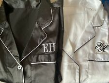 Black Satin Personalised Pyjamas Set with Embroidered initials XL / XXL UK 16-18