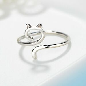 925 Sterling Silver Cute Cat Kitty Adjustable Ring Womens Girls Jewellery Gift