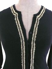 CHARLES CHANG-LIMA Black Cashmere Blend Beaded Tulle Trim Front Cardigan SIZE M