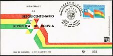 CHILE 1976 FDC COVER # 901 BOLIVIA FLAGS