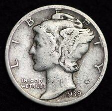 1939-S MERCURY DIME / CIRCULATED GRADE GOOD / VERY GOOD 90% SILVER COIN
